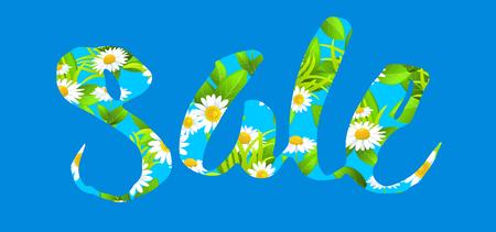chamomile flower: Big sale lettering Illustration