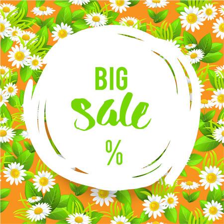 celebration background: Floral big orange summer sale