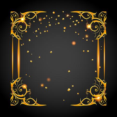 birthday party: Gold holiday posh frame