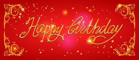 shiny background: Happy birthday holiday lettering