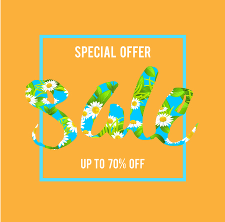holiday background: yellow special offer sale lettering