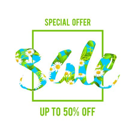 green environment: Special offer sale lettering