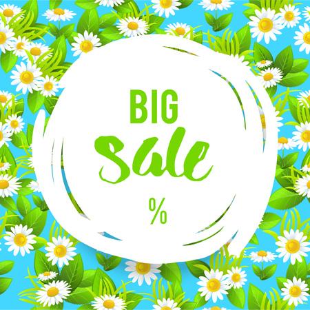 tranquil: Summer or spring template for design banner,ticket, leaflet, card, poster and so on. Big sale floral lettering. Illustration