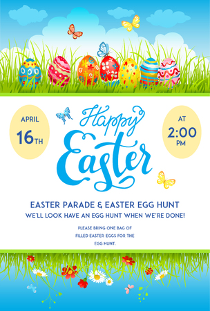 page layout: Easter eggs poster template