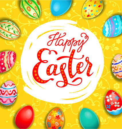 decoration: Yellow holiday eggs card