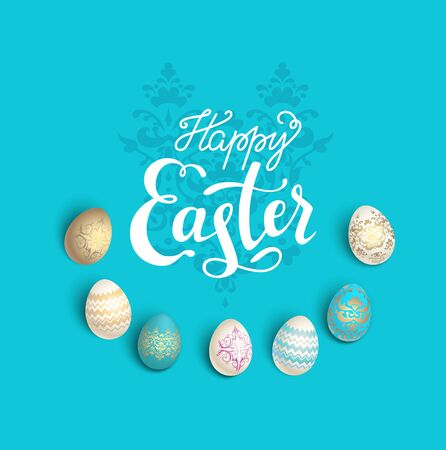 Easter eggs blue card