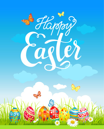 textured backgrounds: Easter holiday poster