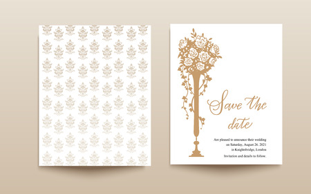 retro: Wedding template card Illustration