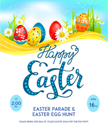 Template easter eggs poster