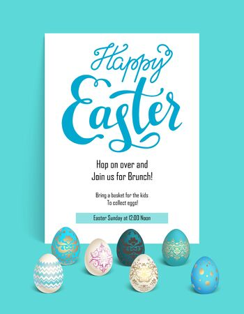 gold textured background: Card blue easter