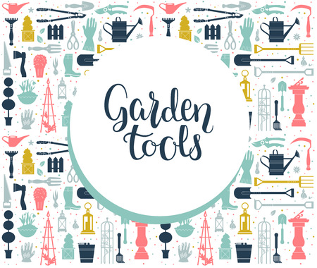 isolated: Garden tools design template.