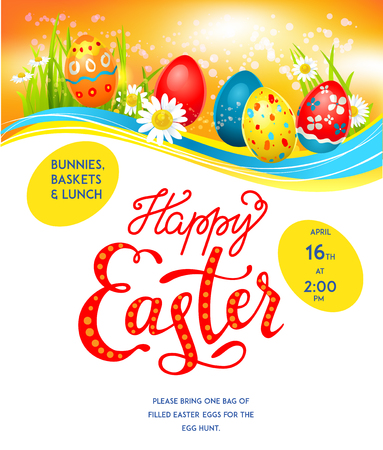 happy holidays: Bright Easter eggs on a grass. Easter holiday background for design card, banner, ticket, leaflet, poster and so on. Template with space for text.