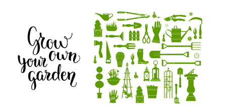 greenery: Vector set of gardening tools. Agriculture equipmen for design. Silhouettes of garden items and plants