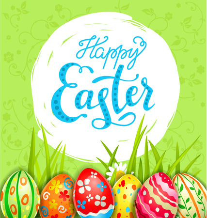 Bright Easter eggs on a grass. Easter holiday background for design card, banner, ticket, leaflet, poster and so on. Holiday spring card.