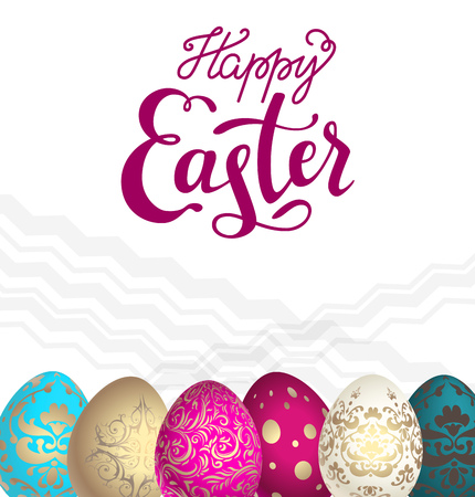 happy holidays: Color Easter eggs with Happy Easter lettering inscription. Easter holiday background for design card, banner, ticket, leaflet, poster and so on.
