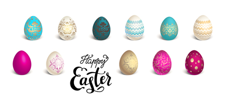 food: Color Easter eggs set with lettering inscription. Easter holiday background for design card, banner, ticket, leaflet, poster and so on. 3D Illustration