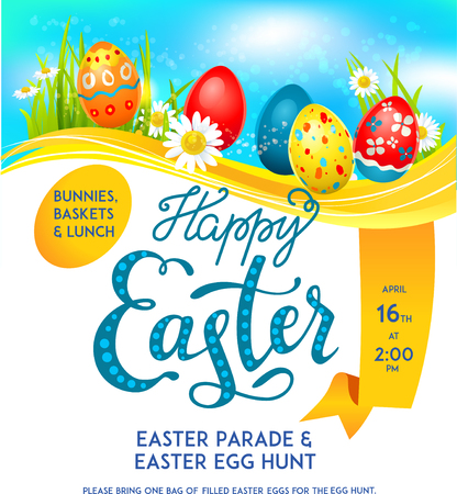celebration background: Bright Easter eggs on a grass. Easter holiday background for design card, banner, ticket, leaflet, poster and so on. Template with space for text.