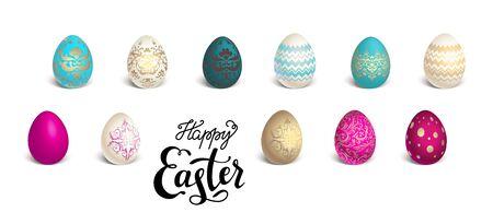 celebration background: Set of Easter eggs