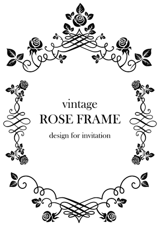 Rose black vintage frame