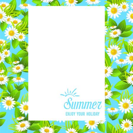 chamomile flower: Floral summer frame