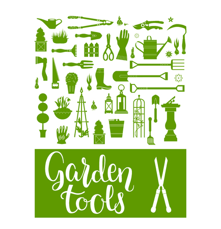 ridge: Vector set of gardening tools. Agriculture equipment for design. Silhouettes of garden items and plants Illustration