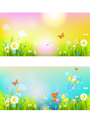green environment: Bright sunshine summer banners
