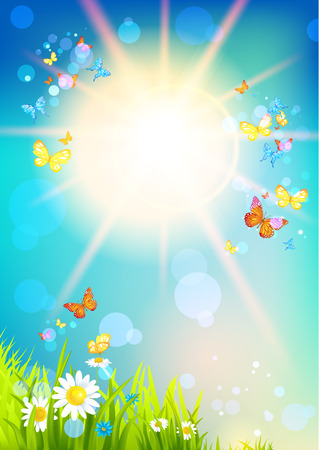 uncultivated: Bright sunshine and butterfly Stock Photo