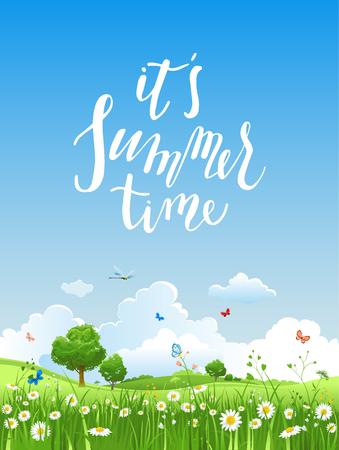 Paisaje de vectores de verano con árboles y pradera de flores. Cielo, hierba verde y mariposas. Foto de archivo - 78460739