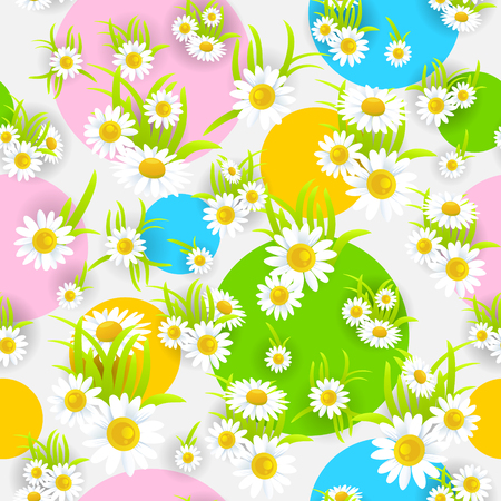 happy holidays: camomile seamless pattern