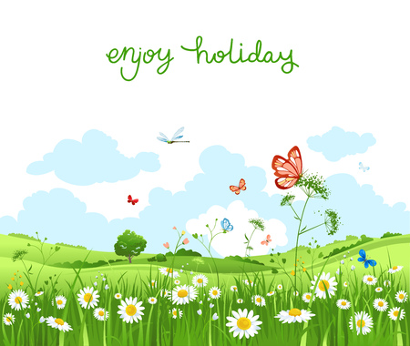 Summer vector landscape with trees and meadow of flowers. Sky, green grass and butterflies. Illustration