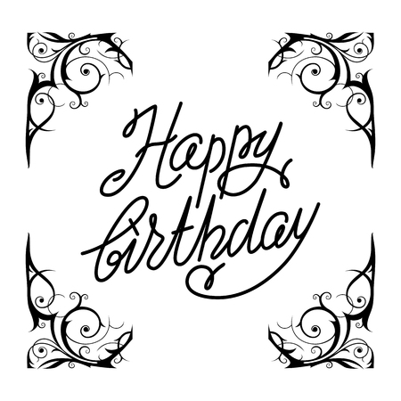 card: Happy birthday lettering.