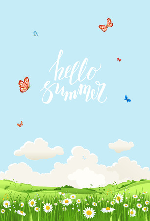 Summer or spring landscape for design banner, ticket, leaflet, card, poster and so on. Green grass and flowers scenery. Illustration