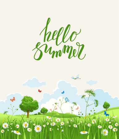 holiday background: Summer or spring landscape for design banner, ticket, leaflet, card, poster and so on. Green grass and flowers scenery. Illustration