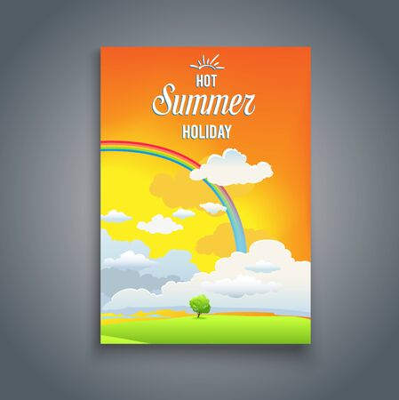 magazine design: Summer time card with rainbow