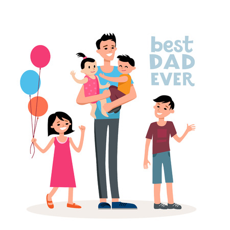 template: Dad and the family Stock Photo