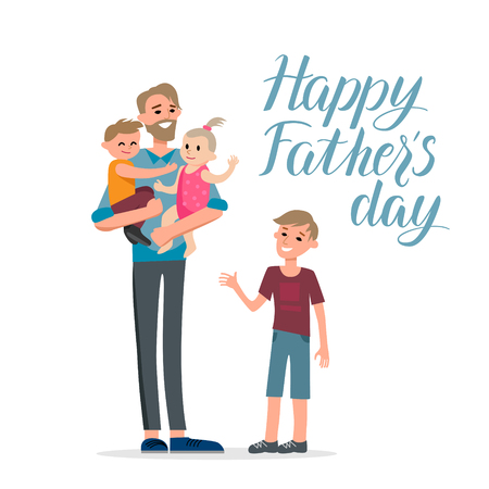 baby: Cartoon characters of family. Dad and his children celebrating fathers Day. Inscription Happy father