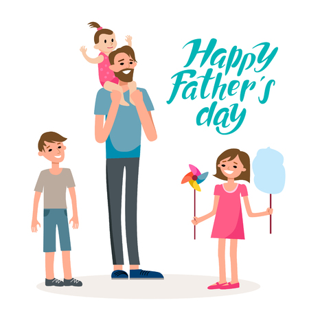 Cartoon characters of family. Dad and his children celebrating fathers Day. Inscription Dad is my hero.