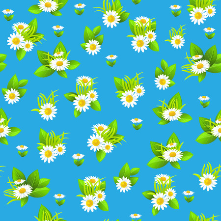 green environment: Bright daisy seamless pattern. Summer or spring template for design banner, ticket, leaflet, card, poster and so on.