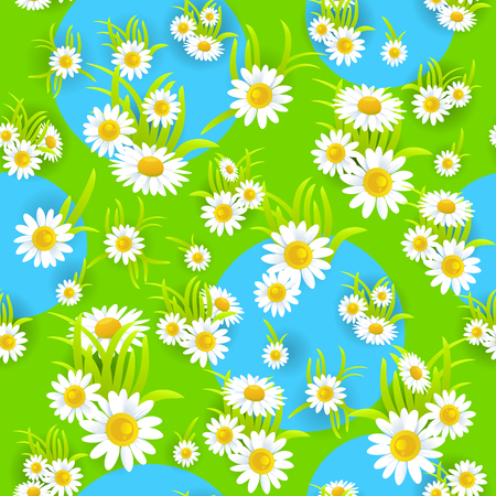 happy holidays: Bright daisy seamless pattern. Summer or spring template for design banner, ticket, leaflet, card, poster and so on.