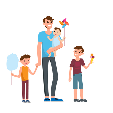festive: Cartoon characters of family. Dad and his children celebrating fathers Day. Traditional family.