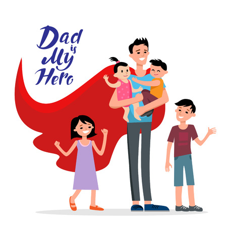 template: Cartoon characters of family. Dad and his children celebrating fathers Day. Inscription Dad is my hero.