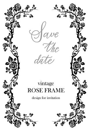 romance: Ornamental frame with roses. Solemn floral element for design banner,invitation, leaflet, card, poster and so on. Wedding or jubilee theme. Illustration