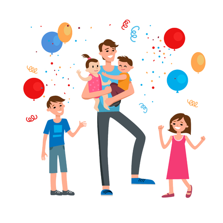 children party: Happy family cartoon Illustration