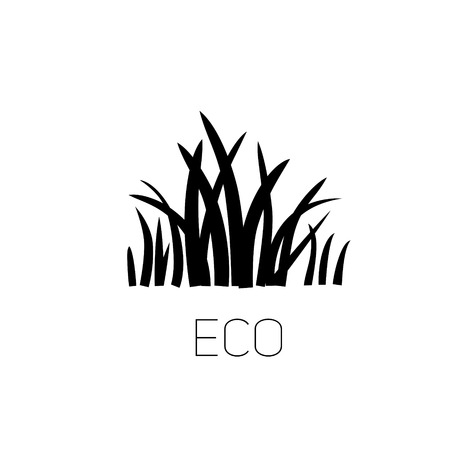 green environment: Eco green grass black