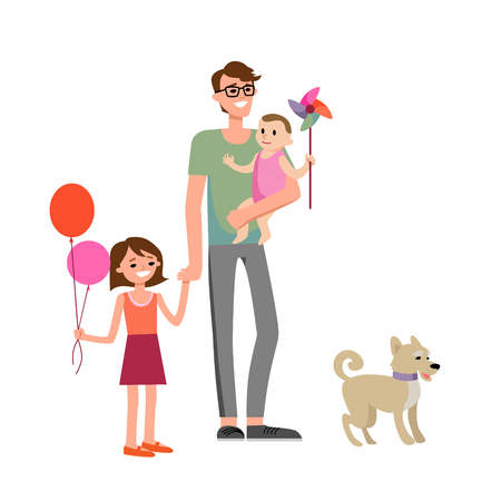 girl: Happy fathers day family Illustration