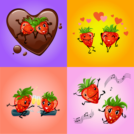 berry: Strawberry couple cartoon set