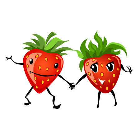 Strawberry couple cartoon