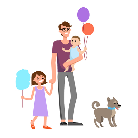 holiday party: Happy dad and family Illustration