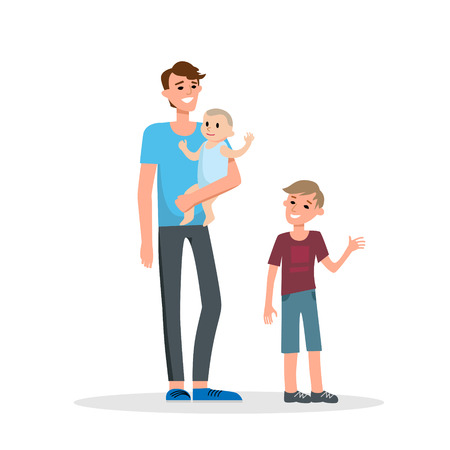 layout: Dad and sons Illustration