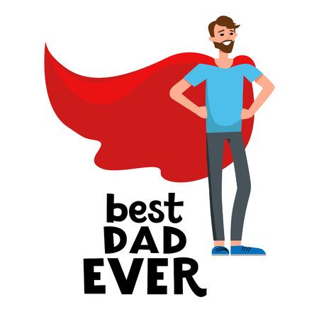 Happy superdad cartoon Illustration